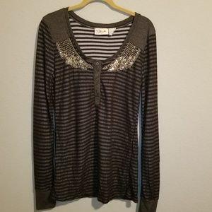 Miss Me Embellished Stripped Long Sleeve Top